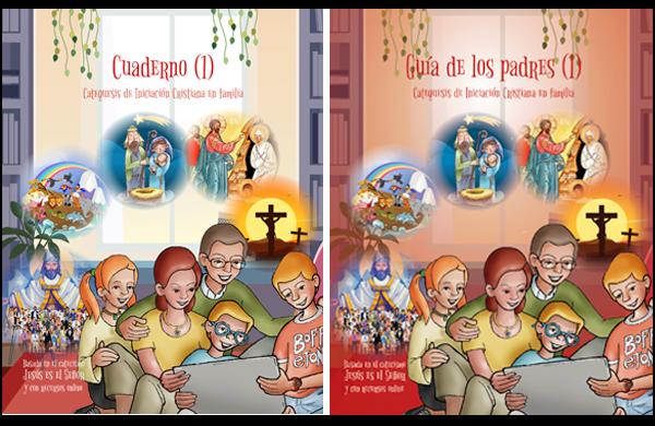 Portadas de los manuales de catequesis familiar para padres y niños